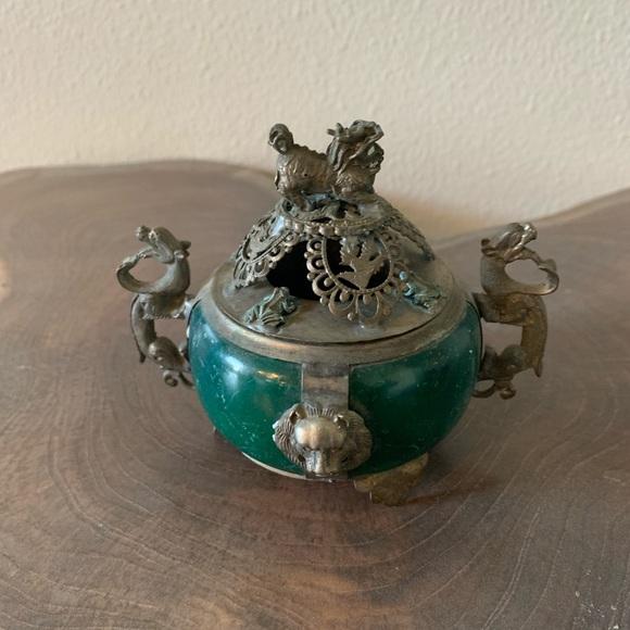 Vintage Chinese dragon and foo dog and turtles incense burner